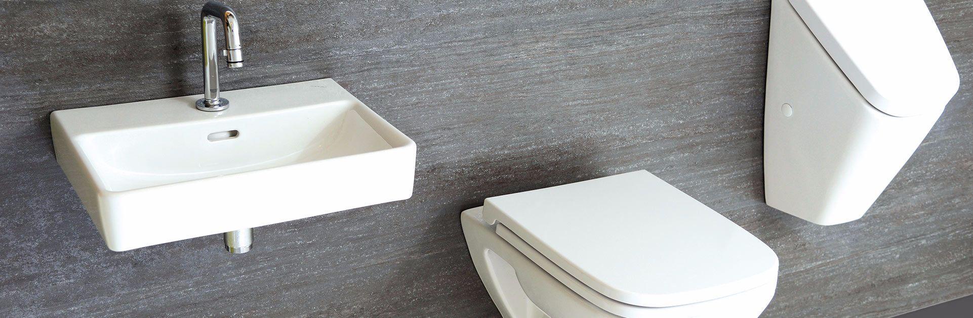 PlattenDesign, Dekor Basalt, Waschtisch, Urinal, Wandklosett